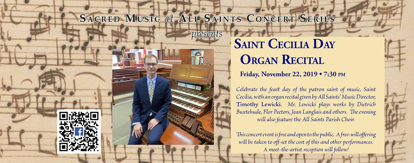 Saints Cecilia Day Organ Recital - All Saints Sacred Music Concert Series - November 22, 2019