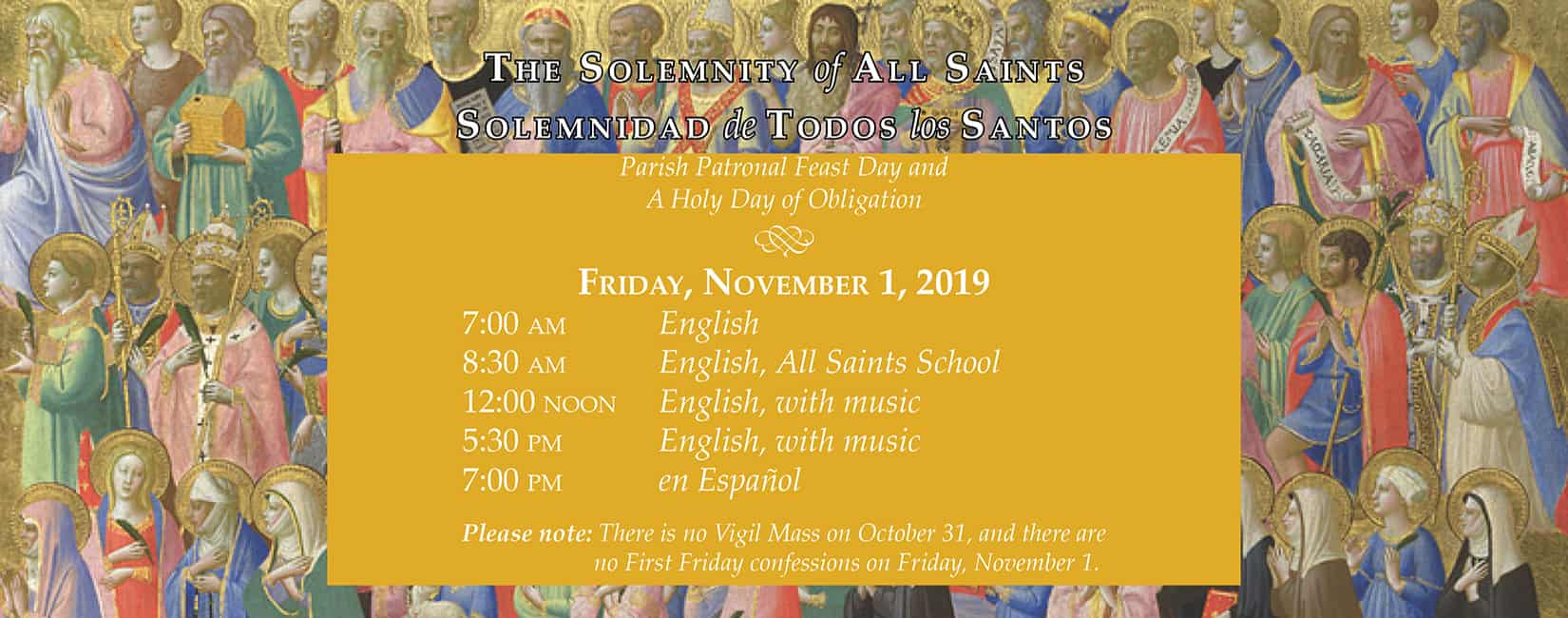 All Saints Catholic Church - All Saints Day Mass Schedule
