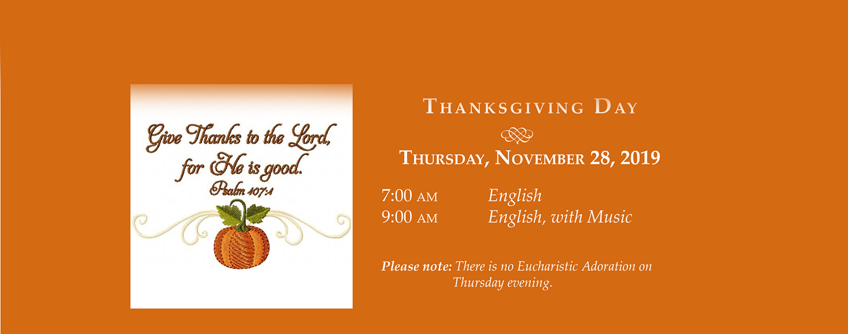 Thanksgiving Mass Schedule - All Saints Catholic Church